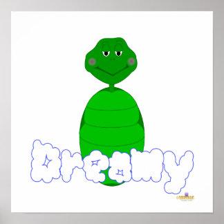 Sleepy Green Turtle Dreamy Posters