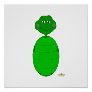 Sleepy Green Turtle Print