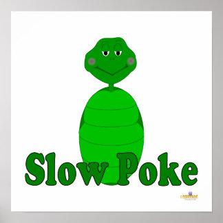 Sleepy Green Turtle Slow Poke Poster
