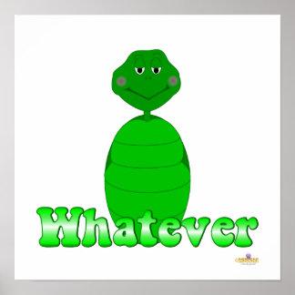 Sleepy Green Turtle Whatever Posters