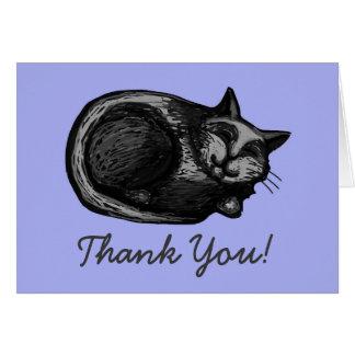 Sleepy Grey Cat Periwinkle Thank You Card