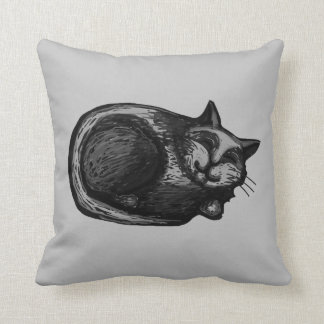 Sleepy Grey Cat Pillow