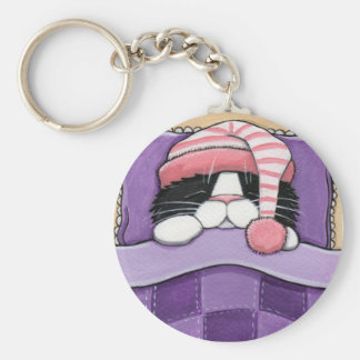 Sleepy Head - Cat Keychain
