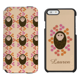 Sleepy Hedgehog and Flowe Personalized iPhone Case Incipio Watson™ iPhone 6 Wallet Case