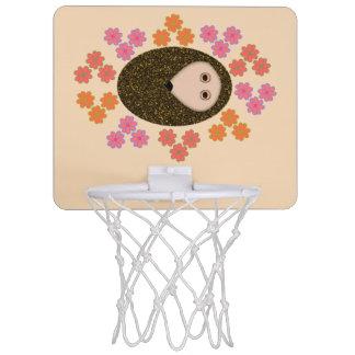 Sleepy Hedgehog and Flowers Basketball Hoop