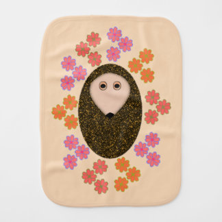 Sleepy Hedgehog and Flowers Burp Cloth