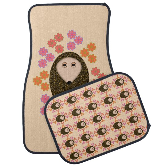 Sleepy Hedgehog and Flowers Car Mats Car Mat