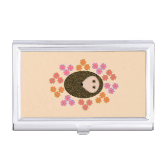 Sleepy Hedgehog and Flowers Case For Business Cards