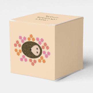 Sleepy Hedgehog and Flowers Custom Favor Box