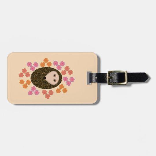Sleepy Hedgehog and Flowers Custom Luggage Tag