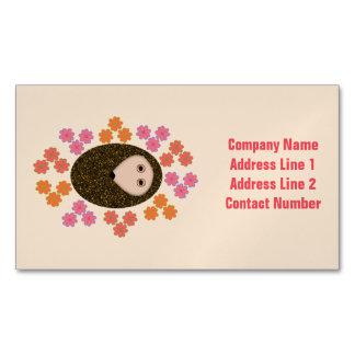 Sleepy Hedgehog and Flowers Custom Magnetic Business Card