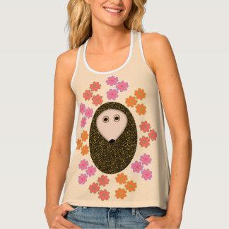 Sleepy Hedgehog and Flowers Ladies Tank Top