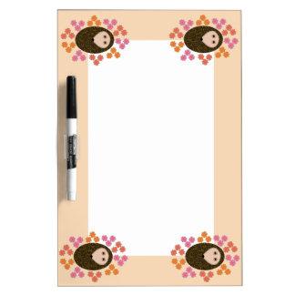 Sleepy Hedgehog and Flowers Memo Board Dry-Erase Board
