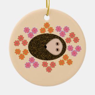 Sleepy Hedgehog and Flowers Ornament