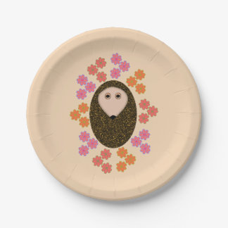 Sleepy Hedgehog and Flowers Paper Party Plates