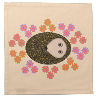 Sleepy Hedgehog and Flowers Party Napkin