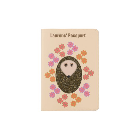 Sleepy Hedgehog and Flowers Personalized Passport Holder