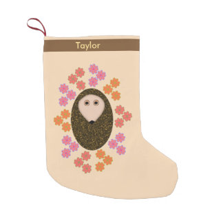 Sleepy Hedgehog and Flowers Personalized Stocking Small Christmas Stocking