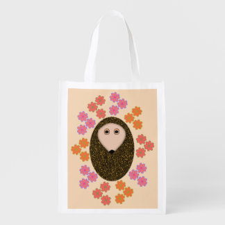 Sleepy Hedgehog and Flowers Reusable Bag
