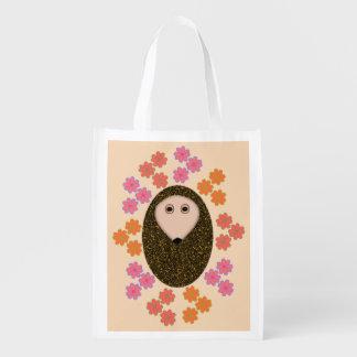 Sleepy Hedgehog and Flowers Reusable Bag Grocery Bags