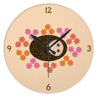 Sleepy Hedgehog and Flowers Wall Clock