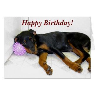 Sleepy Heidi and Ball Birthday Card