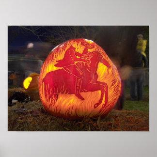 Sleepy Hollow Carved Halloween Pumpkin Poster