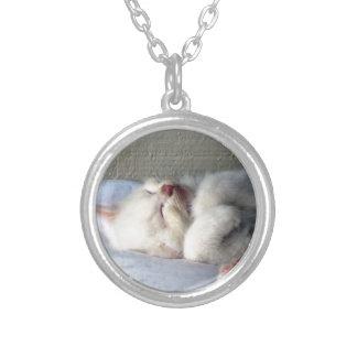 Sleepy Kitten Silver Plated Necklace