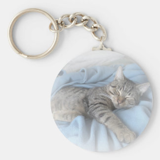 Sleepy Kitty Basic Round Button Keychain