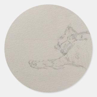 Sleepy kitty sketch-y steeker classic round sticker
