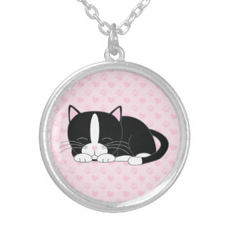 Sleepy Kitty {Tuxedo} Silver Plated Necklace