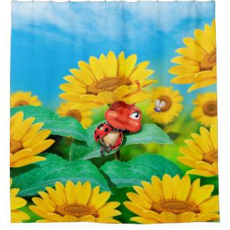 Sleepy Ladybug and sunflowers, shower curtain