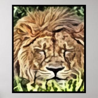 Sleepy lion painting poster