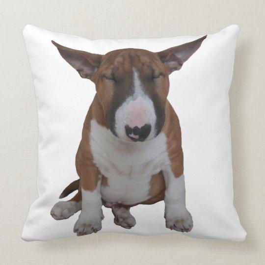 Sleepy Little Bull Terrier Throw Pillow