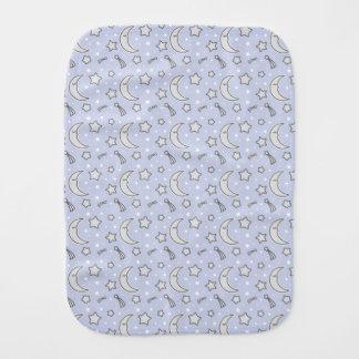 Sleepy Moon - blue baby burb cloth