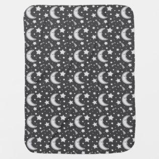 Sleepy Moon - Dark grey baby blanket