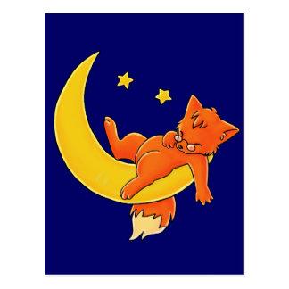 Sleepy Moon Fox Postcard