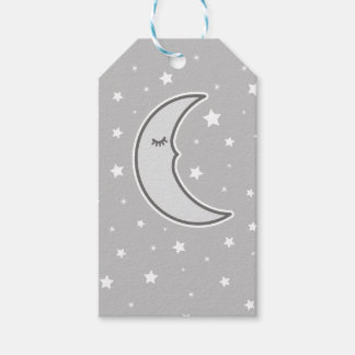 Sleepy Moon grey baby shower favour gift tag Pack Of Gift Tags