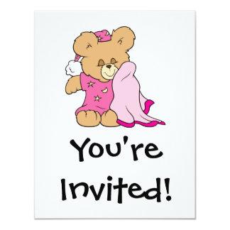 "sleepy night night girl teddy bear design 4.25"" x 5.5"" invitation card"