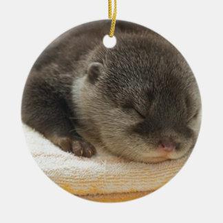 Sleepy Otter Ceramic Ornament
