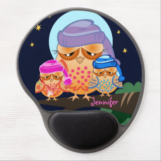 Sleepy Owl Family with Custom Name Gel Mouse Mat