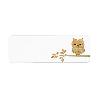 Sleepy Owl in Tree Label