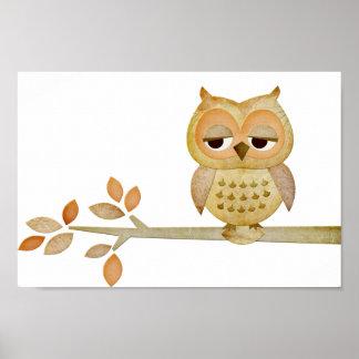 Sleepy Owl in Tree Poster