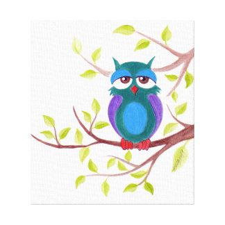Sleepy owl on a tree cute cartoon painting canvas prints
