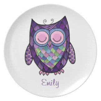 Sleepy Owl Personalized Melamine Plate