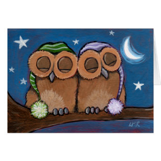 Sleepy Owls Greeting Card