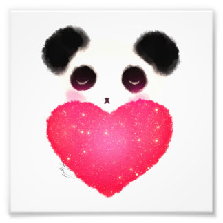Sleepy Panda Heart Art Photo