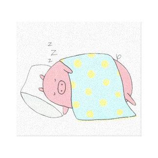 Sleepy Pig Canvas Print