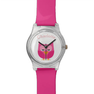 Sleepy Pink Owl Personalized Watch