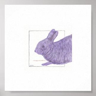 Sleepy Purple Bunny Poster
